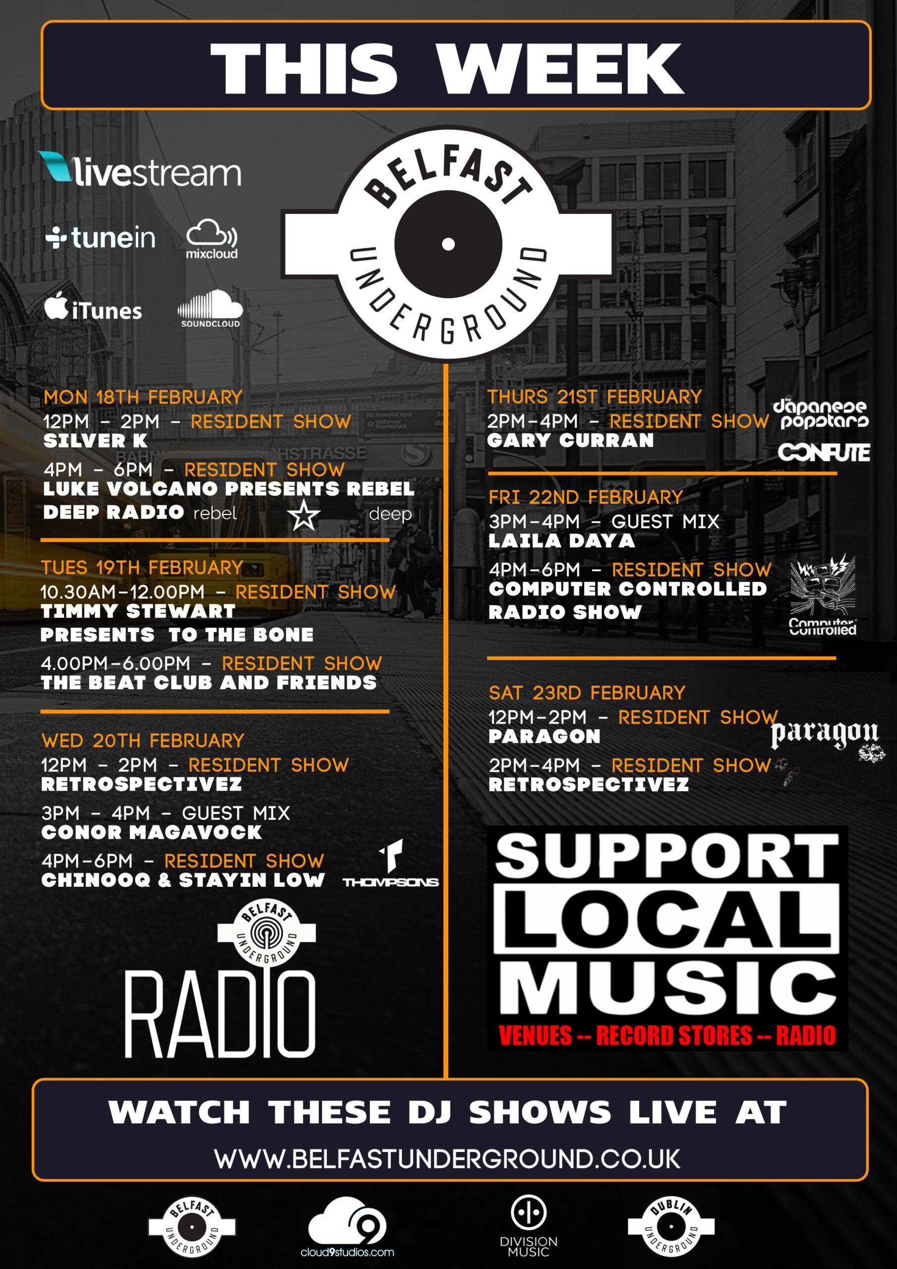 Belfast Underground Radio schedule – Week 18th Feb 2019